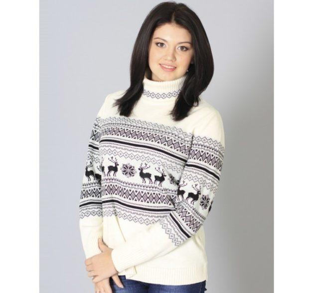 свитер с оленями на полосе черными со снежинками