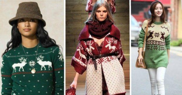 зеленый свитер в олени белые туника красная в белые олени кофта длинная в олени