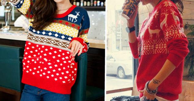 свитер цветной в с оленями красный с белыми оленями