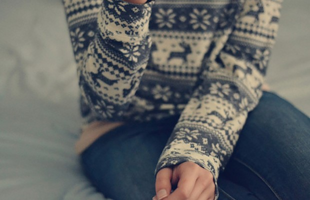 скандинавский свитер с оленями