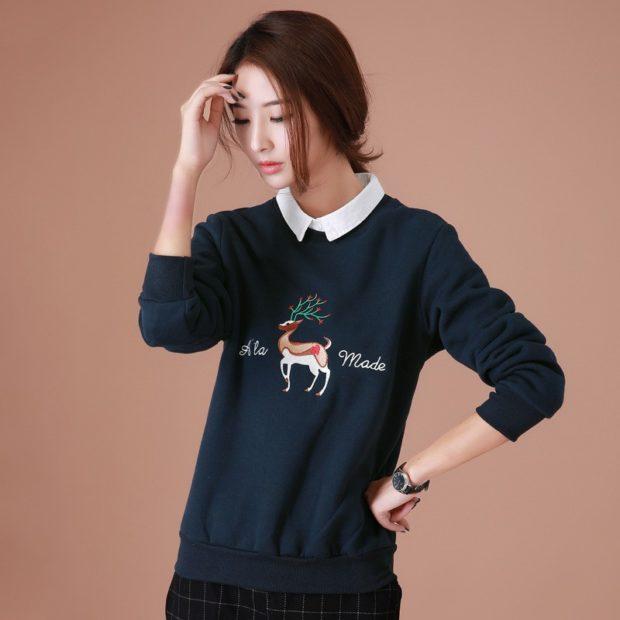 свитера оверсайз синий с оленем