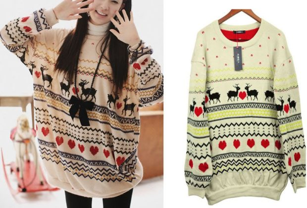свитер новогодний широкий с оленями