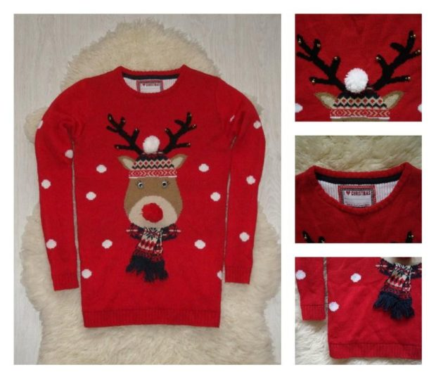 красный свитер с оленем новогодний