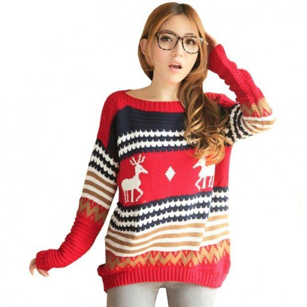 свитер цветной красный с черным с оленями