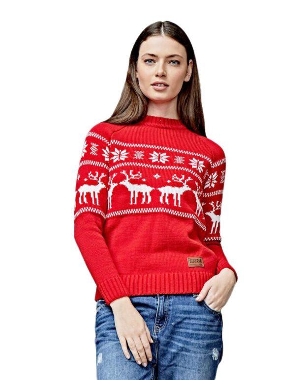 красно-белый свитер с оленями кэжуал