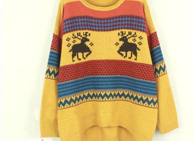 желтый свитер с оленями