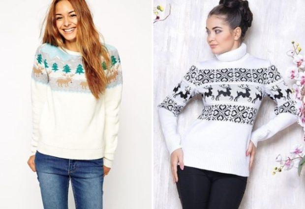свитер белый с оленями
