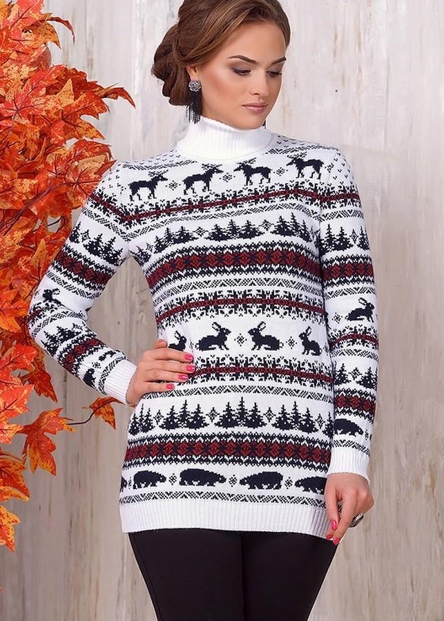 свитер с оленем с отворотом белый с черным и красным