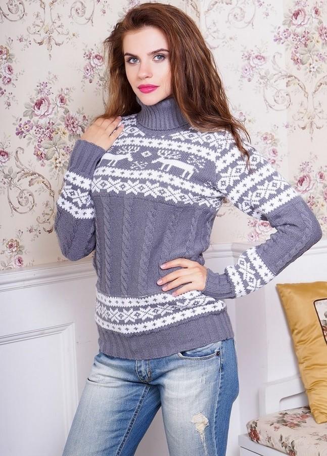 свитер с оленем с отворотом серый с белым