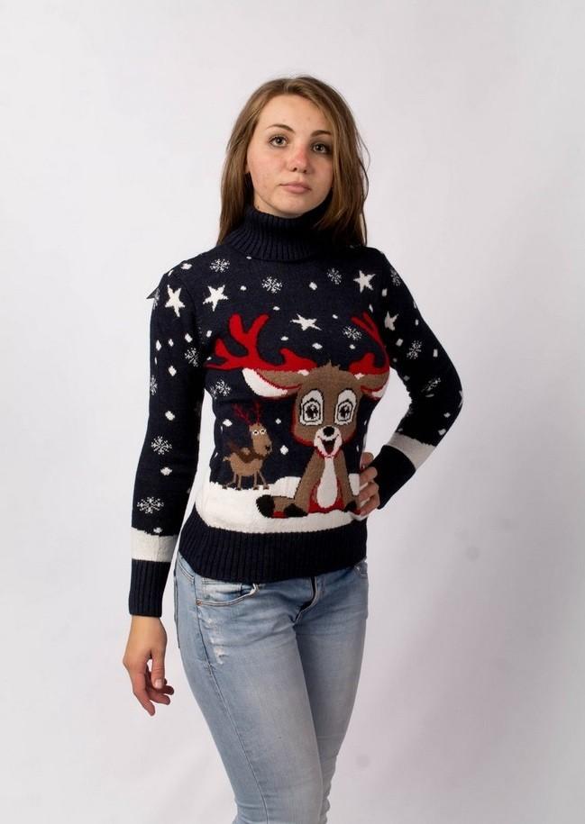 свитер с оленем с отворотом черный в звездочки олень мультяшка