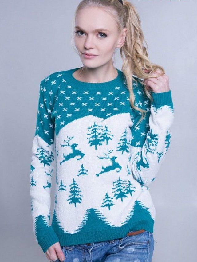 белый свитер синим с оленями