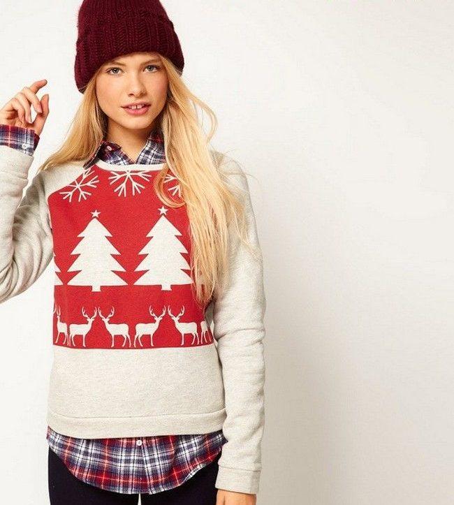 свитер толстовка красный с оленями и елками