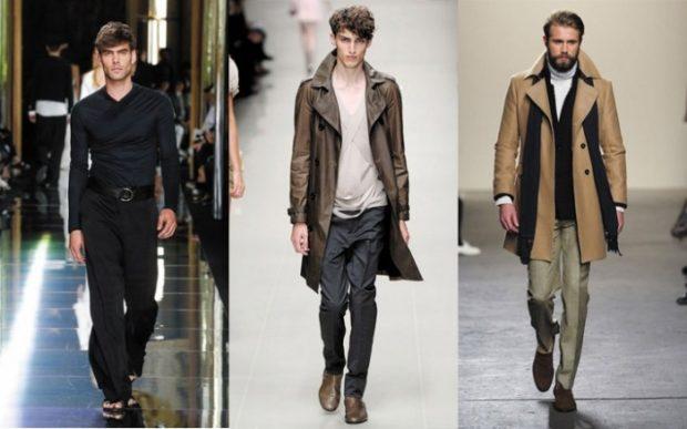 мужская мода 2018 осень зима: брюки и рубашка в тон плащ коричневый пальто светлое