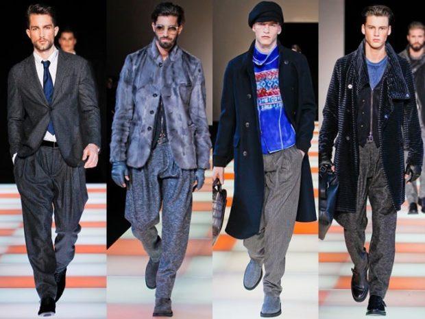 мужская мода 2019-2020 осень-зима: костюмы серые пальто синее черное