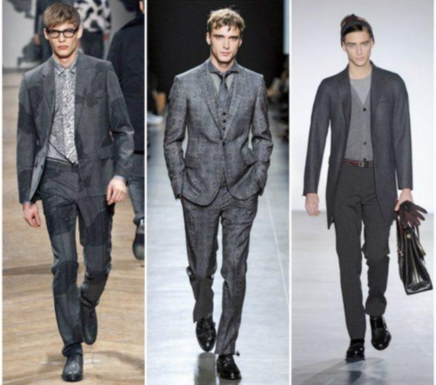 мужская мода 2019-2020 осень-зима: костюмы классика серые