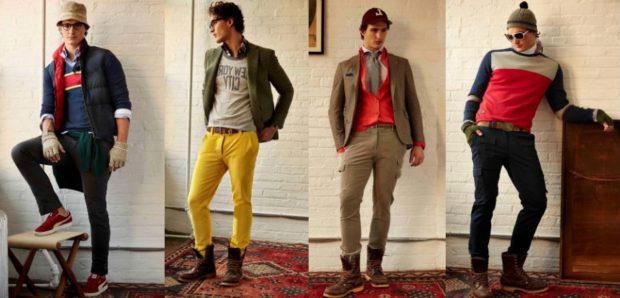 мужская мода 2019-2020 осень-зима: зеленые штаны желтые коричневые черные стиль кэжуал