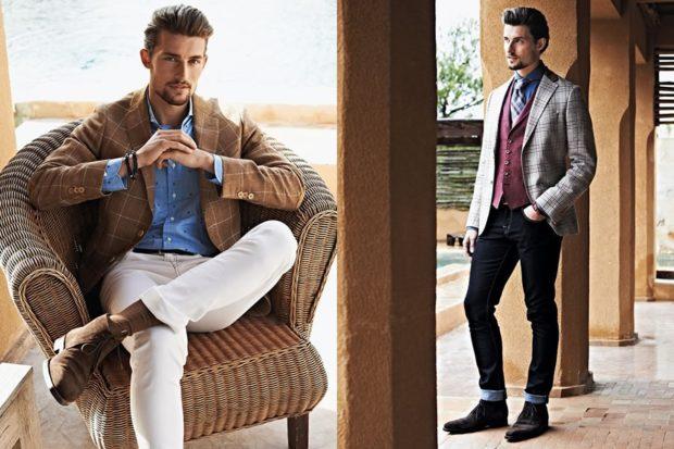 мужская мода осень-зима: пиджак клетка брюки белые черные