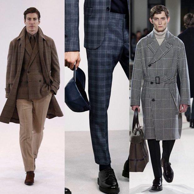 мужская мода осень-зима: стиль клетка пальто и пиджак костюм