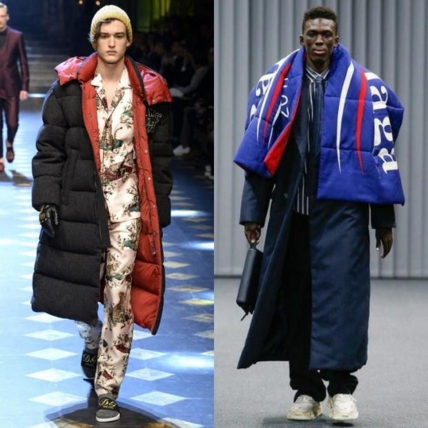 мужская мода 2018 осень зима: куртки пуховики оверсайз миди