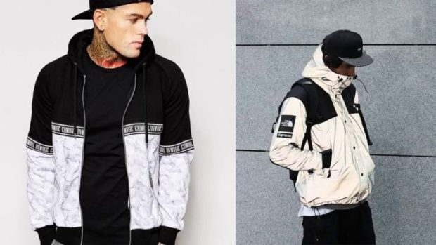 мужская мода 2018 осень зима: куртка короткая бомбер черно-белая