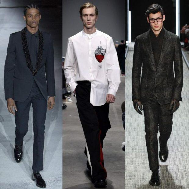 мужская мода 2018 осень зима: костюм серый черные штаны белая рубашка
