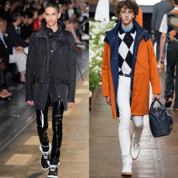 мужская мода осень-зима: куртка черная штаны кожаные куртка оранжевая