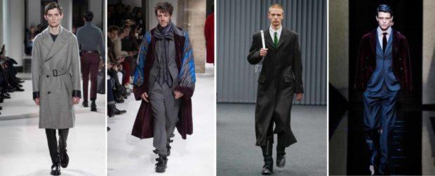 мужская мода 2019-2020 осень-зима: пальто серое черное с принтованным шарфом черное макси бордовое
