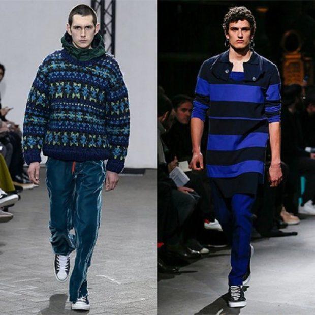 мужская мода осень-зима: свитер объемный с принтом длинный синий
