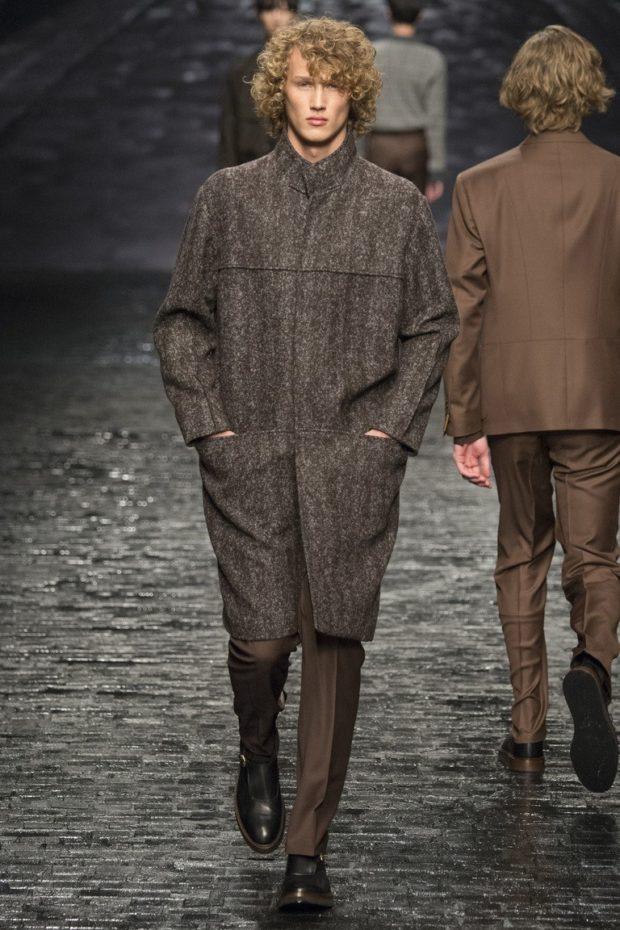 мужская мода 2018-2019 осень-зима: пальто серое