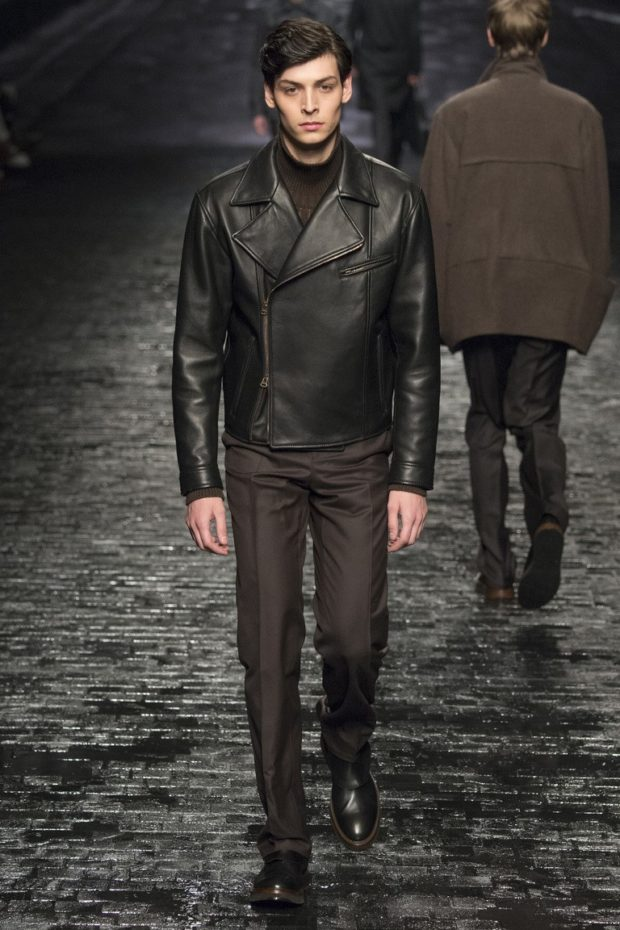 мужская мода осень-зима: кожаная куртка брюки