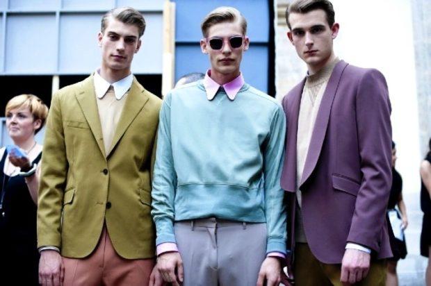 мужская мода осень-зима: костюмы цветные оливковый верх сиреневый верх