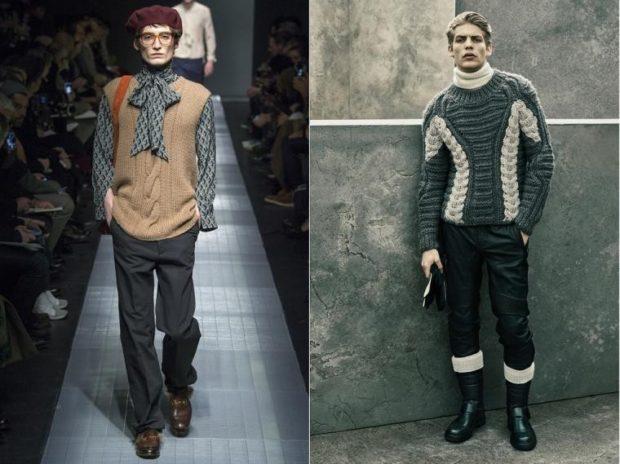 тенденции мужской моды осень-зима: вязаные жилетки кофты брюки