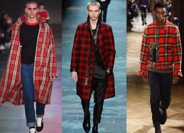 мужская мода 2018 осень зима: пальто миди красное в белую клетку пальто