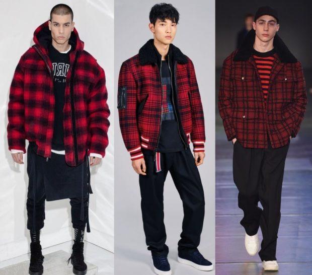 тенденции мужской моды осень-зима: куртки бомбер красные с черной клеткой