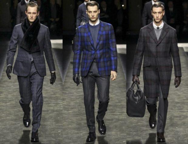 тенденции мужской моды осень-зима: костюмы в клетку серые синий