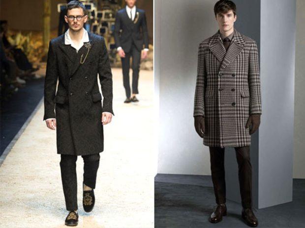 тенденции мужской моды осень-зима: пальто миди пальто по колено в клетку