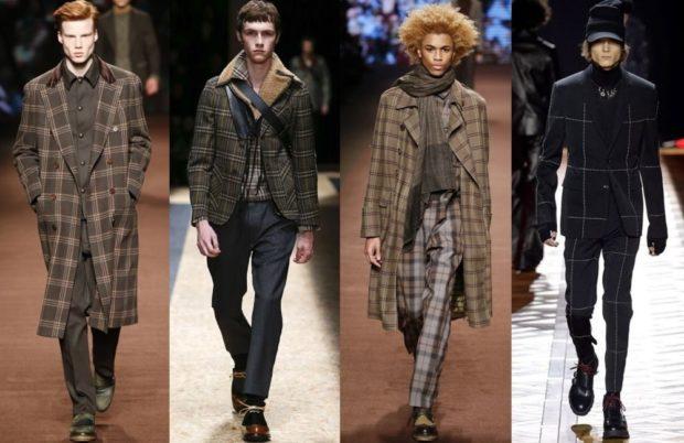 мужская мода 2018 осень зима: пальто макси коричневое в клетку короткое в клетку по колено