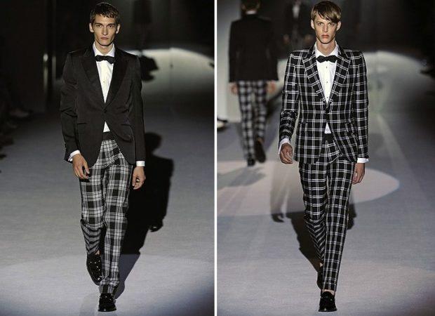 тенденции мужской моды осень-зима: костюмы в черное-белую клетку