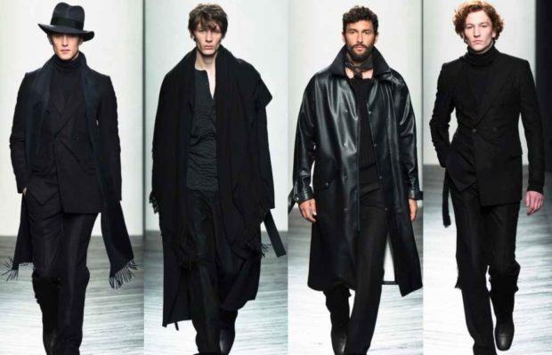 тенденции мужской моды осень-зима: черный стиль пальто брюки кофты