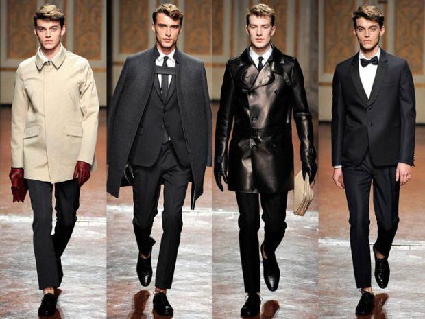 тенденции мужской моды осень зима: черный стиль костюмы пальто туфли