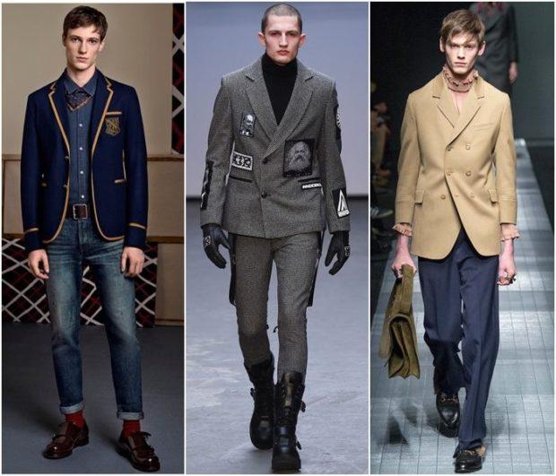 тенденции мужской моды осень зима: жакет синий серый бежевый