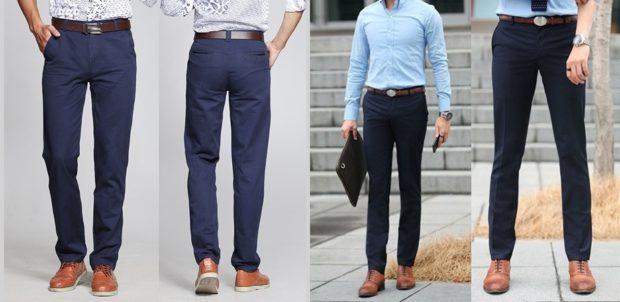 тенденции мужской моды осень зима: брюки синие черные классика