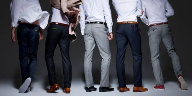 тенденции мужской моды осень зима: брюки черные серые синие