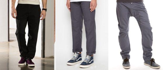 тенденции мужской моды осень зима: черные брюки серые с подворотом кэжуал