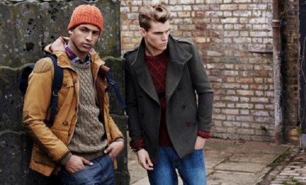 мужская мода 2019-2020 осень-зима: коричневая куртка серое короткое пальто