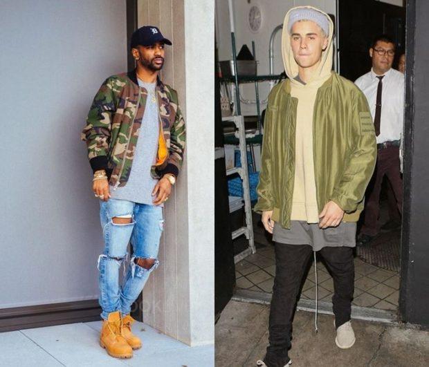 тенденции мужской моды осень зима: куртка камуфляж бомбер оливковая