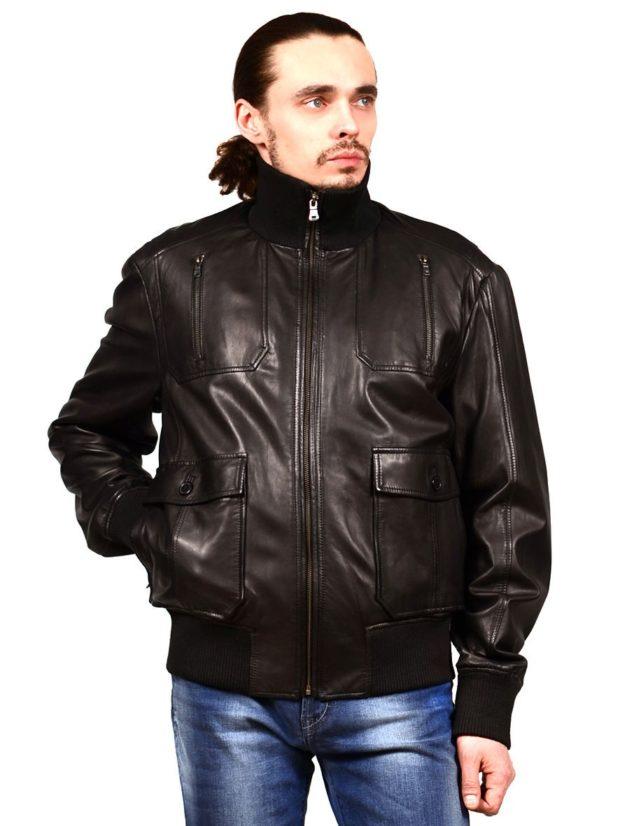 тенденции мужской моды осень-зима: куртка кожаная бомбер
