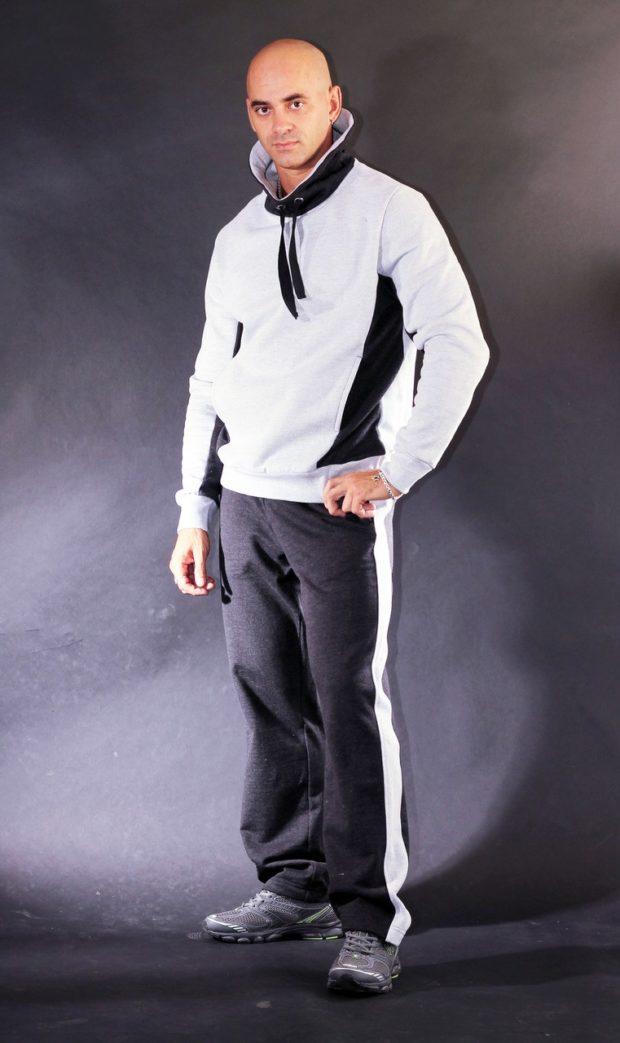 тенденции мужской моды осень-зима: костюм черно-белый спортивный
