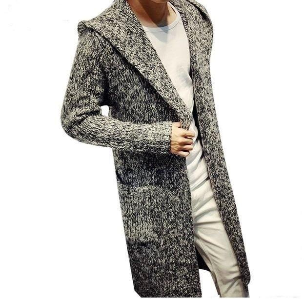 тенденции мужской моды осень зима: пальто вязанное серое с белым
