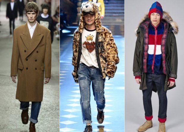 мужская мода 2019-2020 осень-зима: пальто коричневое макси короткая шубка тигр парка зеленая